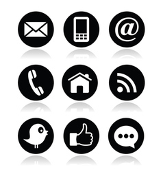 Contact web blog and social media round icons vector image