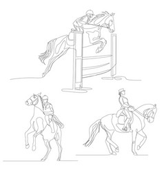 Continuous one line horseman set equestrianism vector