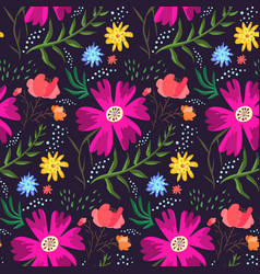 Contrast floral summer pattern of rich colors vector