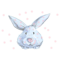 cute blue bunny with pink nose and dots childish vector image