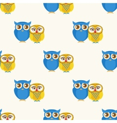 Cute seamless pattern with owls couple vector image