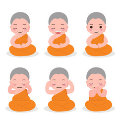 Cute young buddhist monk meditation practice for vector