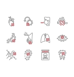 Danger of smoking simple line icons set vector image