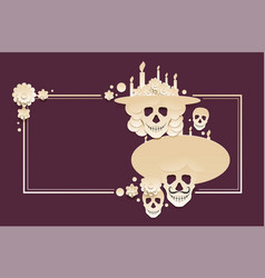 Day of the dead template greeting card mexican vector