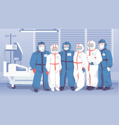 doctors in hospital medical workers wearing vector image