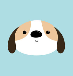 Dog face head round icon white puppy pooch cute vector
