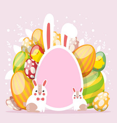 Easter card with spring flowers and cute babunn vector