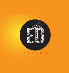 Ed e d logo made of small letters with black vector
