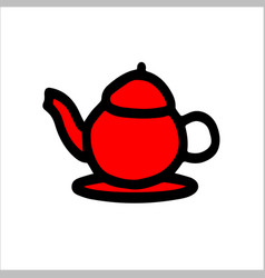 English teapot red color vector