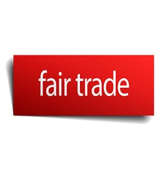 Fair trade red square isolated paper sign on white vector