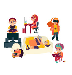 Flat cartoon kids using gadgets technologies vector
