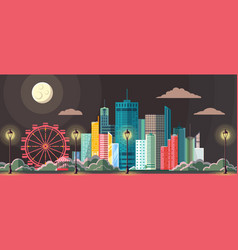 flat style modern design of night city vector image