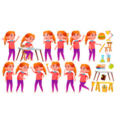 girl schoolgirl kid poses set redhead vector image
