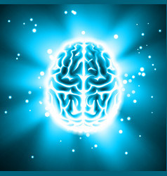 Glowing human brain vector