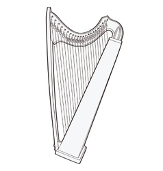 Gothic lever celtic harp isolated on white vector image