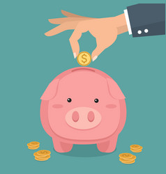 hand putting coin piggybank vector image