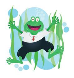 Happy business frog mascot in suit vector