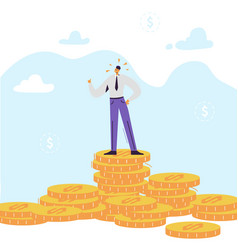 happy businessman character with pile of money vector image