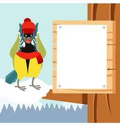 happy titmouse with hat on tree flat vector image