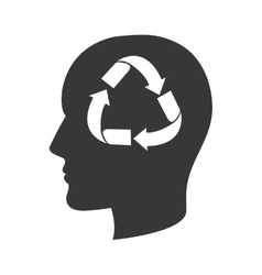 Head profile with recycling sign vector