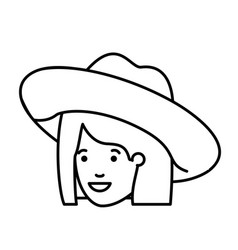 head woman with hat avatar character vector image