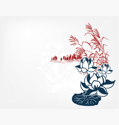 Japanese sketch engraved chinese pond lily vector