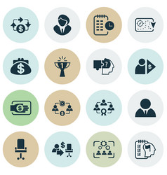 job icons set with effective teamwork success vector image