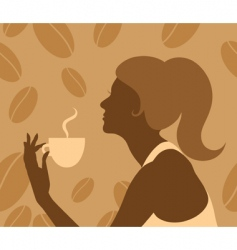 lady drinking coffee vector image