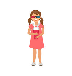 little girl in dress in virtual reality glasses vector image
