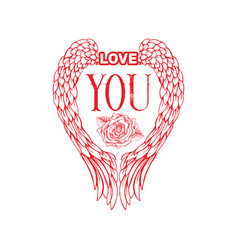 love you sketch color vector image