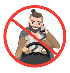 Man driving a car talking on the phone sign stop vector