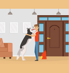 Man pet owner coming back with his dog licking his vector