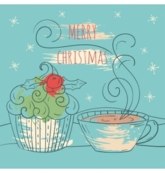 Merry christmas card Winter vector image