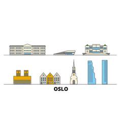 Norway oslo flat landmarks vector