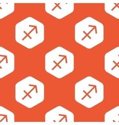 Orange hexagon Sagittarius pattern vector