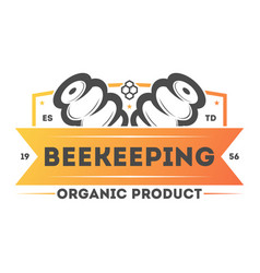 Organic beekeeping vintage isolated label vector