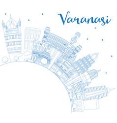 outline varanasi india city skyline with blue vector image