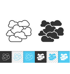 Overcast simple black line icon vector
