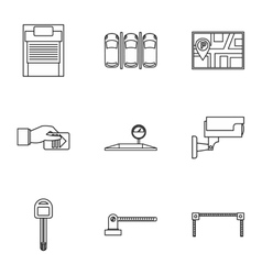 Parking transport icons set outline style vector