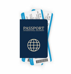 passport with boarding pass two airplane tickets vector image