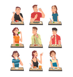 people eating different meals set men and women vector image