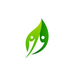 people green leaf nature logo icon vector image