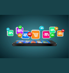 phone with app icons mobile buying internet vector image