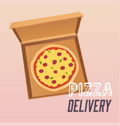 Pizza in the opened cardboard box delivery flat vector