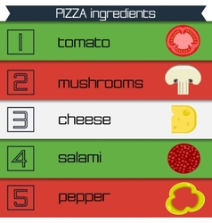 Pizza ingredients infographics multicolor ribbons vector image