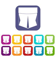 Pocket icons set flat vector
