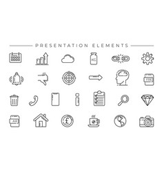 Presentation elements concept line style vector