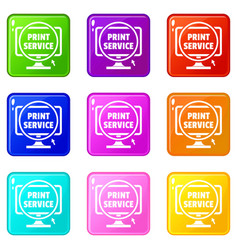 print service icons set 9 color collection vector image