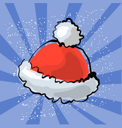 Red santa s hat with snow vector