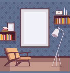 retro interior with big wall frame for copy space vector image